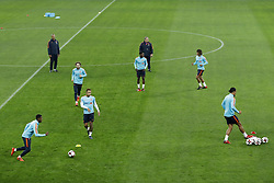 (L-R) Georginio Wijnaldum of Holland, assistant trainer Ruud Gullit of Holland, Daley Blind of Holland, Memphis Depay of Holland, Quincy Promes of Holland, coach Dick Advocaat of Holland, Nathan Ake of Holland, Virgil van Dijk of Holland during a training session prior to the friendly match between Romania and The Netherlands on November 13, 2017 at Arena National in Bucharest, Romania