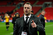Newport County Manager Michael Flynn shows his appreciation and gives a 'thumbs up'  to the travelling Newport county fans after the game. The Emirates FA Cup, 4th round replay match, Tottenham Hotspur v Newport County at Wembley Stadium in London on Wednesday 7th February 2018.<br /> pic by Steffan Bowen, Andrew Orchard sports photography.
