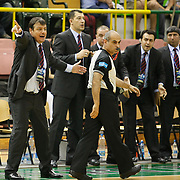 Efes Pilsen's coach Ergin ATAMAN (L) during their Turkish Basketball league Play Off Final second leg match Efes Pilsen between Fenerbahce Ulker at the Ayhan Sahenk Arena in Istanbul Turkey on Saturday 22 May 2010. Photo by Aykut AKICI/TURKPIX