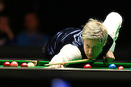 Neil Robertson in action during the final match against Ronnie O'Sullivan. Betvictor Welsh Open snooker 2016, Final day at the Motorpoint Arena in Cardiff, South Wales on Sunday 21st  Feb 2016.  <br /> pic by Andrew Orchard, Andrew Orchard sports photography.