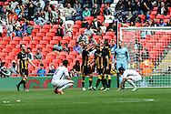 Morpeth celebrate their fourth goal against Hereford after Christopher Swailes  of Morpeth Town AFC makes it 4-1 during the FA Vase match between Hereford FC and Morpeth Town at Wembley Stadium, London, England on 22 May 2016. Photo by Mike Sheridan.