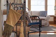 Harraseeket Inn-LL Bean Fireplace tools, gloves, wood cradle