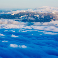 Clouds moving over the White Mountains as seen from the summit of New Hampshire's Mount Washington.