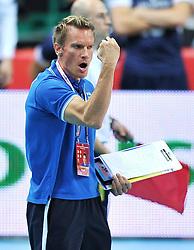 06.09.2014, Spodek, Katowice, POL, FIVT WM, Finnland vs Deutschland, Gruppe B, im Bild TUOMAS SAMMELVUO (TRENER HEAD COACH) // during the FIVB Volleyball Men's World Championships Pool B Match beween Finland and Germany at the Spodek in Katowice, Poland on 2014/09/06. <br /> <br /> ***NETHERLANDS ONLY***