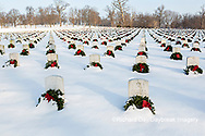 65095-02911 Wreaths on graves in winter Jefferson Barracks National Cemetery St. Louis,  MO
