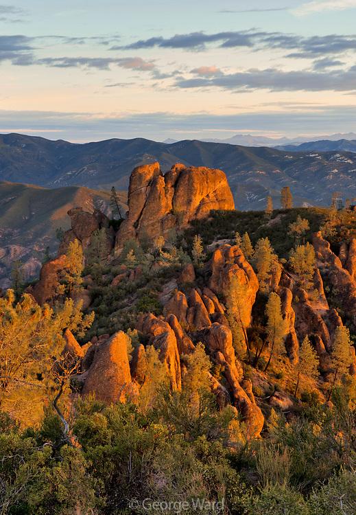Rock Formations at Dawn Looking North from High Peaks, Pinnacles National Park, California