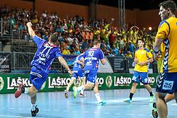 Luka Zvizej of Celje celebrate during handball match between RK Celje Pivovarna Lasko and RD Koper 2013 of Super Cup 2016, on August 27, 2016 in SRC Marina, Portoroz / Portorose, Slovenia. Photo by Matic Klansek Velej / Sportida