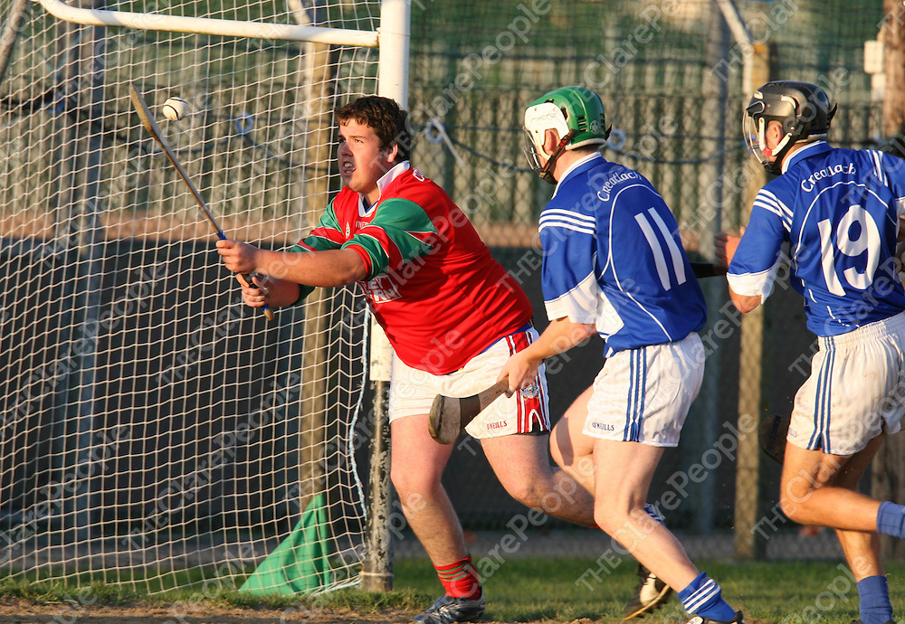 Brian McInerney and Mark Flahive put pressure on Davy McNamara and Score Cratloe's Goal during the Clooney/Quin V Cratloe Junior B Final at Wolfe Tones ,Shannon on Sunday.<br /><br />Photograph by Eamon Ward