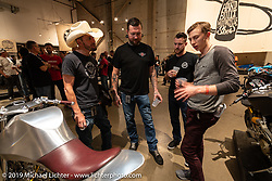 Jay Donovan talks about his custom XS-650 with Kyle Shorey, Chris Moos and Nick Adams at the Handbuilt Show. Austin, TX. USA. Saturday April 21, 2018. Photography ©2018 Michael Lichter.