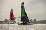 SailGP Australia Team leads upwind against SailGP Japan Team in their match race on day two of competition. Event 1 Season 1 SailGP event in Sydney Harbour, Sydney, Australia. 16 February 2019. Photo: Chris Cameron for SailGP. Handout image supplied by SailGP