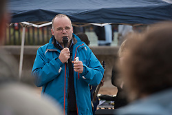 Our Forth event on Portobello beach celebrating the past year of campaigning against fracking and unconventional gas extraction and highlighting the continued campaign towards permanent bans on all forms of unconventional gas extraction.Andy Wightman MSP addresses people gathered on the beach.<br /> <br /> © Jon Davey/ EEm