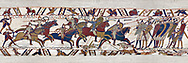 11the Century Medieval Bayeux Tapestry - Scene 51 William encourages his soldiers into battle. Battle of Hastings 1066 .<br /> <br /> If you prefer you can also buy from our ALAMY PHOTO LIBRARY  Collection visit : https://www.alamy.com/portfolio/paul-williams-funkystock/bayeux-tapestry-medieval-art.html  if you know the scene number you want enter BXY followed bt the scene no into the SEARCH WITHIN GALLERY box  i.e BYX 22 for scene 22)<br /> <br />  Visit our MEDIEVAL ART PHOTO COLLECTIONS for more   photos  to download or buy as prints https://funkystock.photoshelter.com/gallery-collection/Medieval-Middle-Ages-Art-Artefacts-Antiquities-Pictures-Images-of/C0000YpKXiAHnG2k