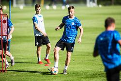 Luka Zahovic and Andraz Sporar of Slovenia national football team during practice session, on June 3, 2019 in Kranjska Gora, Slovenia. Photo by Peter Podobnik/ Sportida