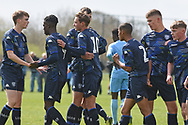 Leeds United forward Niklas Haughland scores a goal 1-0 and celebrates during the U18 Professional Development League match between Coventry City and Leeds United at Alan Higgins Centre, Coventry, United Kingdom on 13 April 2019.