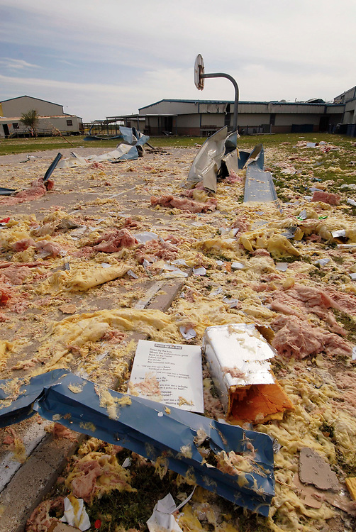Eagle Pass, TX April 26, 2007: Aftermath of a tornado that destroyed Rosito Valley Elementary School and scores of homes in the rural area of Maverick County near the Mexico border.  The class-3 twister with winds reported at 150 miles-per-hour killed 10 people and caused millions in property damage.  ©Bob Daemmrich /