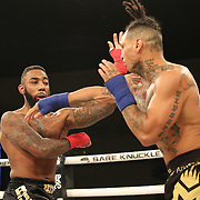 FORT LAUDERDALE, FL - FEBRUARY 15: Ulysses Diaz (R) fights Brian Maxwell during the Bare Knuckle Fighting Championships at Greater Fort Lauderdale Convention Center on February 15, 2020 in Fort Lauderdale, Florida. (Photo by Alex Menendez/Getty Images) *** Local Caption *** Ulysses Diaz; Brian Maxwell