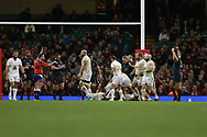 Georgia players look on dejected at the end of the match as Wales player Elliot Dee ® celebrates. Under Armour 2017 series Autumn international rugby, Wales v Georgia at the Principality Stadium in Cardiff , South Wales on Saturday 18th November 2017. pic by Andrew Orchard, Andrew Orchard sports photography