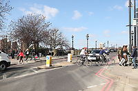 People out and about in Battersea london on a sunny day during lockdown 2021  photo by Roger Alarcon