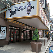 The Eugene O'Neill Theater and the musical The Book of Mormon remains closed during the holiday season with Coronavirus (Covid-19) outbreak in Manhattan, New York on Tuesday, December 8, 2020. (Alex Menendez via AP)
