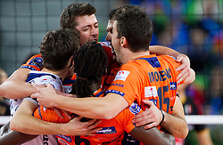 Players of ACH celebrate during volleyball match between ACH Volley and Lube Banca Marche Macerata (ITA) in 5th Leg of Pool D of 2013 CEV Champions League on December 5, 2012 in Arena Stozice, Ljubljana, Slovenia. ACH defeated Macerata 3-1. (Photo By Vid Ponikvar / Sportida)