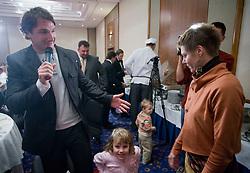 (Right) Lucija, wife of Best coach of the year Vladimir Kevo and left Primoz Kozmus at Best Slovenian athlete of the year ceremony, on November 15, 2008 in Hotel Lev, Ljubljana, Slovenia. (Photo by Vid Ponikvar / Sportida)
