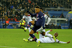 January 19, 2019 - Paris, Ile de France, France - Paris SG Forward NEYMAR JR score the first goal during the French championship League 1 Conforama match Paris SG against EA Guingamp at the Parc des Princes Stadium in Paris - France..Paris SG won 9-0 (Credit Image: © Pierre Stevenin/ZUMA Wire)