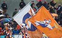 BLOEMENDAAL - HOCKEY -Vlaggen van de Bloemigans  van  Bloemendaal.  Eerste  wedstrijd play offs in de hoofdklasse hockey competitie tussen de mannen van Bloemendaal en Kampong (2-3) . COPYRIGHT KOEN SUYK