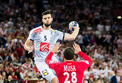 Nadim Remili of France vs Zeljko Musa of Croatia during handball match between National teams of Croatia and France on Day 7 in Main Round of Men's EHF EURO 2018, on January 24, 2018 in Arena Zagreb, Zagreb, Croatia.  Photo by Vid Ponikvar / Sportida