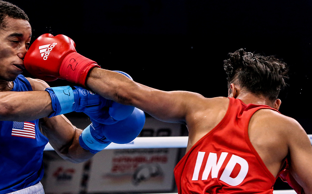 Boxen: AIBA Box-WM, Day 6, Hamburg, 20.08.2017<br /> 56 Kg: Gaurav Bidhuri (IND, red) - Duke Ragan (USA, blue)<br /> © Torsten Helmke