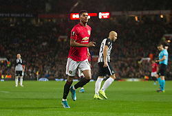 Marcus Rashford of Manchester United celebrates after scoring his sides third goal - Mandatory by-line: Jack Phillips/JMP - 07/11/2019 - FOOTBALL - Old Trafford - Manchester, England - Manchester United v Partizan - UEFA Europa League