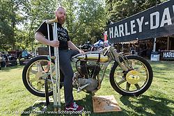 Matt Harris with his 1921 Harley-Davidson JD (modeled after 1918 HD patent) at the Born Free 9 Motorcycle Show at Oak Creek Ranch. Silverado, CA. USA. Saturday June 24, 2017. Photography ©2017 Michael Lichter.