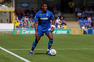 AFC Wimbledon defender Paul Kalambayi (30) dribbling, during the EFL Sky Bet League 1 match between AFC Wimbledon and Accrington Stanley at the Cherry Red Records Stadium, Kingston, England on 17 August 2019.
