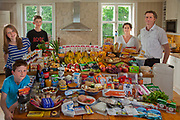 Gjerdrum, Norway. Family portrait of the Glad-Ostensen family with one week's worth of food in June. The Hungry Planet project.