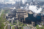 Nederland, Noord-Holland, IJmuiden , 09-04-2014; IJmuiden Steel Works van Tata Steel. Oxystaalfabriek en gashouder, hoogovens in de achtergrond.<br /> IJmuiden Steel Works, part of Tata Steel. <br /> luchtfoto (toeslag op standard tarieven);<br /> aerial photo (additional fee required);<br /> copyright foto/photo Siebe Swart