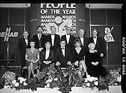 People Of The Year Awards.  (R91)..1988..22.11.1988..11.22.1988..22nd November 1988..This is the fourteenth year of the People of the Year Awards, sponsored by the New Ireland Assurance Company plc. The awards will be presented by Mr Ray Burke TD, Minister of Energy and Communications. Eight people have been nominated this year..Mr Ollie Jennings, for his contribution to community and cultural life of Galway City..Mr Jack Charlton, for restoration of pride to the Irish Soccer team..Ms Carmencita Hederman, For her efforts to instill a community spirit in Dublin..Maureen O'Mahony, for her dedication in assisting the sick and elderly in the Bantry area..Mr Tommy Boyle, for his contribution in having the Garda band ranked as one of the top bands in the world..Ms Alice Leahy, for a lifetime commitment in providing medical care to the Dublin Homeless..Ms Norma Smurfitt, for her voluntary contribution to the work of the Arthritis Foundation Of ireland..Mr Gordon Wilson, for his commitment to peace and reconcilliation in Northern Ireland...Image shows (seated) Carmencita Hederman, Alice Leahy, Ray Burke TD, Norma Smurfit and Maureen O'Mahony..Back, Joe Treacy, Rehab, Ollie Jennings,Jack Charlton,Gordon Wilson,Tommy Boyle and Eoin Ryan,New Ireland at the award ceremony in the Burlington Hotel, Dublin.