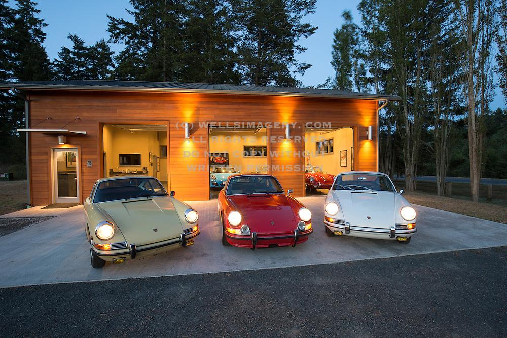 Porsche-photographer-randy-wells-videographer-filmmaker-cinematographer-storyteller-writer--location-and-studio-specialist, Image of Porsche 911s at the Road Scholars West facility on San Juan Island, Washington, Pacific Northwest