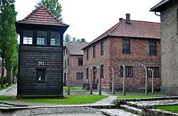 A watchtower at former World War 2 concentration camp Auschwitz I camp.