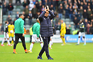 AFC Wimbledon manager Neal Ardley appauds the travelling fans at full time after his team lost 1-0 during the EFL Sky Bet League 1 match between Plymouth Argyle and AFC Wimbledon at Home Park, Plymouth, England on 6 October 2018.