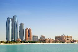 Daytime skyline view of Abu Dhabi in United Arab Emirates