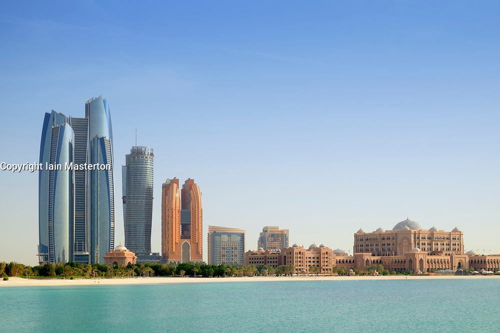 Daytime skyline view of Abu Dhabi in United Arab Emirates