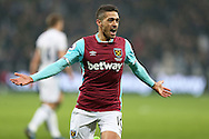 Manuel Lanzini of West Ham United celebrates scoring his sides 2nd goal to make it 2-1. Premier league match, West Ham Utd v West Bromwich Albion at the London Stadium, Queen Elizabeth Olympic Park in London on Saturday 11th February 2017.<br /> pic by John Patrick Fletcher, Andrew Orchard sports photography.