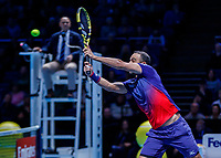 Tennis - 2019 Nitto ATP Finals at The O2 - Day Six<br /> <br /> Doubles Group Max Mirnyi: Juan Sebastien Cabal (COL) & Robert Farah (COL) Vs. Kevin Krawietz (GER) & Andreas Mies (GER)<br /> <br /> Juan Sebastien Cabal (COL) at the net with a return<br /> <br /> <br /> COLORSPORT/DANIEL BEARHAM