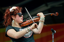 02 May 2014. New Orleans, Louisiana.<br /> Amanda Shaw at the New Orleans Jazz and Heritage Festival. <br /> Photo; Charlie Varley/varleypix.com