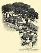 Wood engraving of a A Lebanon café. Pleasantly situated by a mountain stream and sheltered by the dense foliage of the carouba trees (Ceratonia siliqua). The presence of one of these wayside resting places always indicates a good site for an encampment, for it is sure to be near a supply of good water. from 'Picturesque Palestine, Sinai and Egypt' by Wilson, Charles William, Sir, 1836-1905; Lane-Poole, Stanley, 1854-1931 Volume 3. Published in by J. S. Virtue and Co 1883
