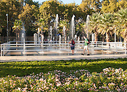Water fountains park newly redeveloped area of port of Malaga, Spain, Muelle Uno, Palmeral de las Sorpresas