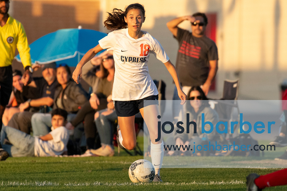 Cypress' Paige Rodriguez (18) during a nonleague game at Troy High School on Thursday, December 12, 2019 in Fullerton, Calif. (Photo by Josh Barber for The Orange County Register/SCNG)