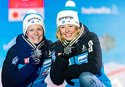 24.02.2019, Medal Plaza, Seefeld, AUT, FIS Weltmeisterschaften Ski Nordisch, Seefeld 2019, Langlauf, Damen, Teambewerb, Siegerehrung, im Bild Silbermedaillengewinnerin Katja Visnar, Anamarija Lampic (SLO) // Silver medalist Katja Visnar Anamarija Lampic of Slovenia during the winner ceremony for the ladie's cross country team competition of FIS Nordic Ski World Championships 2019 at the Medal Plaza in Seefeld, Austria on 2019/02/24. EXPA Pictures © 2019, PhotoCredit: EXPA/ Stefan Adelsberger