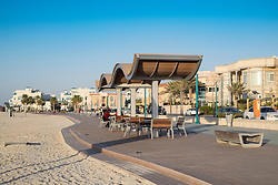 New public boardwalk and jogging track with pavilion beside beach   in Dubai United Arab Emirates