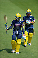 Hampshire all-rounder Will Smith and Hampshire all-rounder Liam Dawson during the Royal London One Day Cup match between Hampshire County Cricket Club and Essex County Cricket Club at the Ageas Bowl, Southampton, United Kingdom on 5 June 2016. Photo by David Vokes.