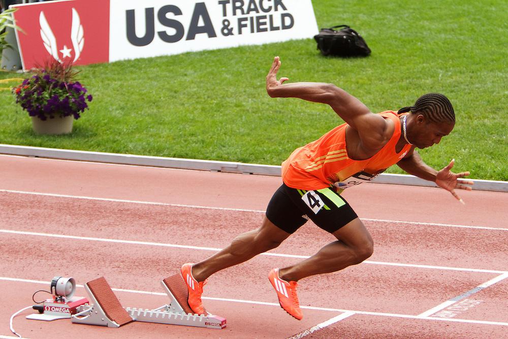 Samsung Diamond League adidas Grand Prix track & field; Mens 400 meters, B race, Randy Quow, TRI, starting blocks